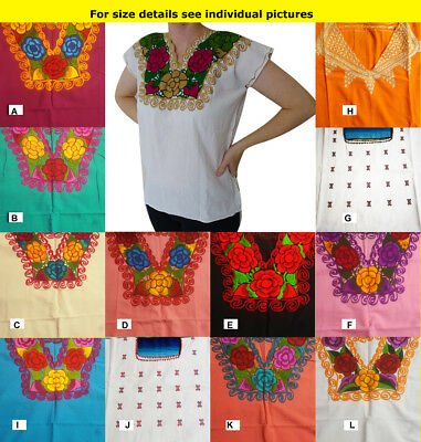 Authentic Mexican ethnic embroidered hand made blouse Chiapas Plus Sizes