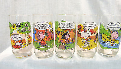 VINTAGE McDONALD'S CAMP SNOOPY GLASSES, COMPLETE SET