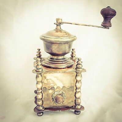 Antique Vintage European Solid Brass Coffee Grinder Mill Moulin Molinillo Cafe