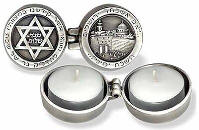 Jewish Judaica Silver Jerusalem 3D Travel Candlesticks Candle Holders Shabbat