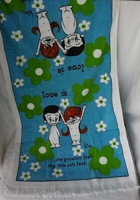RARE UNUSED Vtg 1970 Sayco Girl Boy LOVE IS Plush Flowers Bath Towel Kim Casali