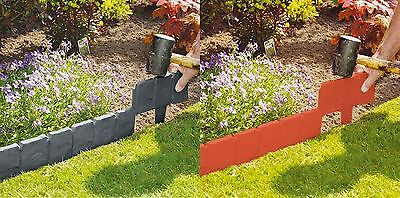 Grey / Terracotta Cobbled Stone Effect Plastic Garden Lawn Edging Plant Border