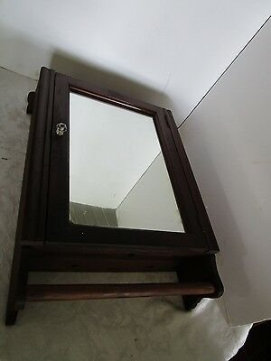 """Antique Wood Commercial Clean Towel Service Wall MEDICINE CABINET Mirror 19.5"""" H"""