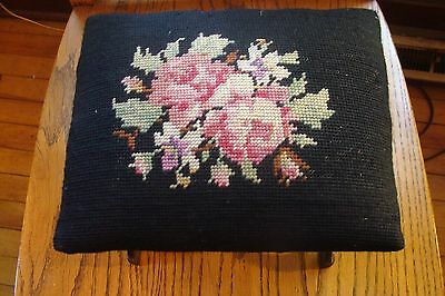 Victorian Needle Point Cast Iron Foot Rest footstool