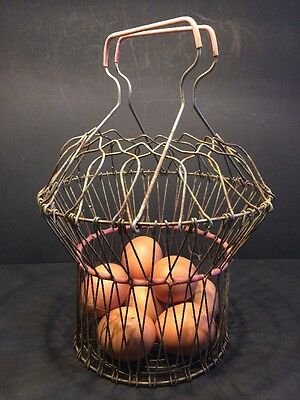 RARE Vintage 1940-50s French Wire Egg Basket - Collapsible!