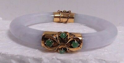 Antique 14 kt Gold Hand Carved & Natural Engraved Jade Bracelet w/ Emeralds.