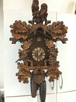 Black Forest Cuckoo Clock Owl and Bird motif 8 Day