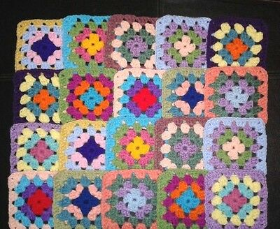 "20 Crochet Granny Square Blocks For Afghan Assorted Colors 5"" X 5"""