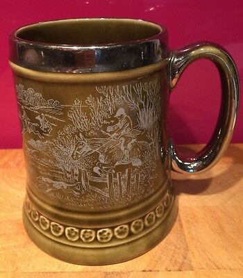 Vintage British Field Sports Society Tankard Pottery Hunting Olive Green