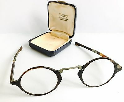 Antique Faux Tortoise Shell Spectacles Folding Eyeglasses made In England