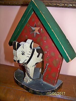Fabulous Rare Primitive Antique Folk Art Wooden Dog w/ Star Doorstop