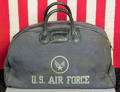 Vintage 1950s US Air Force Military Tote Bag Leeds Gym Duffel Korean War USAF