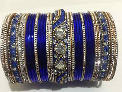 Navy Blue Indian Bollywood Bridal Bangles in latest design Size 2.6