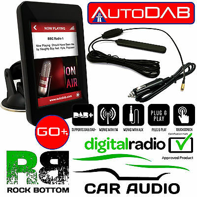 "AutoDAB GO+ Plug n Play Car DAB Digital Receiver with 3.5"" Touch Screen Display"