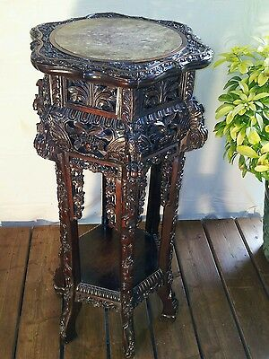 Exquisite  Rare 19Th Century Qing Dynasty Chinese Padouk Wood Stand