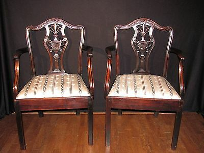 Pair of English Georgian Mahogany Chippendale Arm Chairs Circa 1775