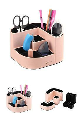Desk Organizer Office supplies Smart Holder PU Leather Pencil Cup Pen Paper New