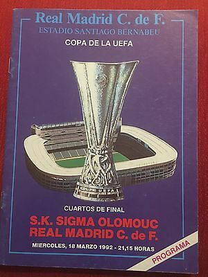 Programme Official Real Madrid Sigma Olomouc Czech Republic Uefa Cup 1991 1992