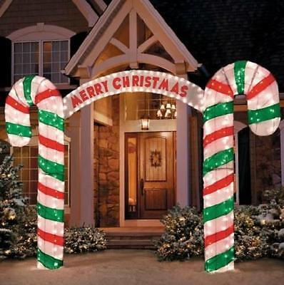 Sale OUTDOOR LIGHTED 10ft MERRY CHRISTMAS SIGN CANDY CANE ARCHWAY Display Decor