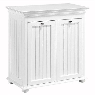 Double Tilt-Out Laundry Hamper Beadboard, Double Shelf Storage Closet Cabinet