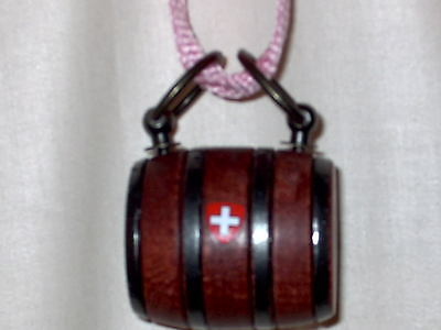 Puppy St. Bernard Wooden Barrel Keg With A Pink Strap And A  Swiss Cross
