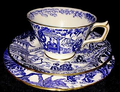 ROYAL CROWN DERBY MIKADO TRIO CUP, SAUCER and BREAD & BUTTER PLATE GOLD TRIM
