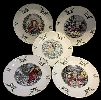 ROYAL DOULTON Christmas Collectors Plates x5 1977 1978 1979 1980 1981