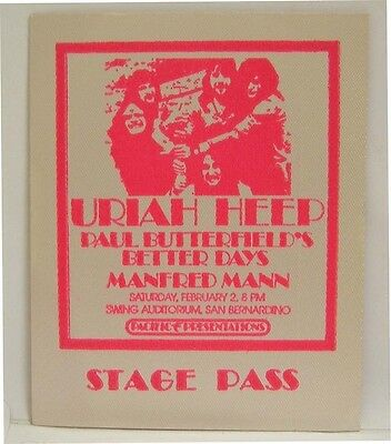 URIAH HEEP / MANFRED MANN / VINTAGE ORIGINAL REAL 1970's BACKSTAGE PASS