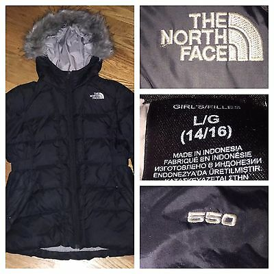 The North Face Girls Black 550 Goose Down Puffer Fur Hooded Parka Jacket Large