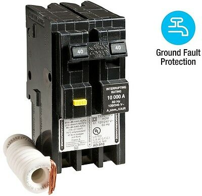 Square D Homeline 40 Amp 2-Pole GFCI Circuit Breaker