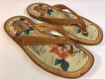 BORN Men's BROWN Leather Slides Mules Thong Summer Casual Open Sandals 11 M/W US