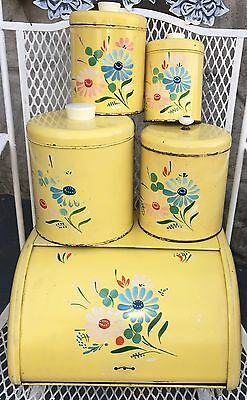 Ransburg 1940's Vintage Tin Canister Set & Bread Box Hand Painted Floral MCM