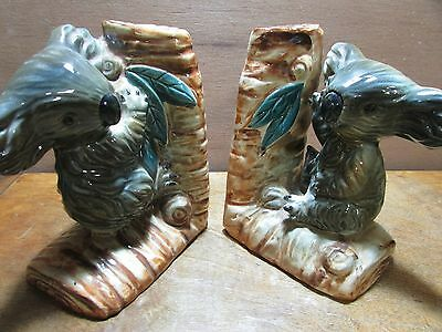 Pair Australian Pottery Koala Bookends Gum Leaf Nut Tree Branch