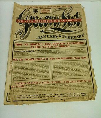 1903 Sears Roebuck & Co GROCERY LIST Sales Catalogue / Booklet Catalog Paper