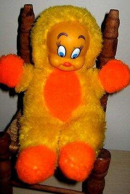 RARE HTF Vintage 1978 TWEETY BIRD Plush Toy WARNER BROS w/VINYL FACE