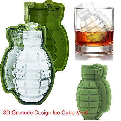 Ice Cube Mold Silicone 3D Grenade Design Ice Cube Bar Party Drinks