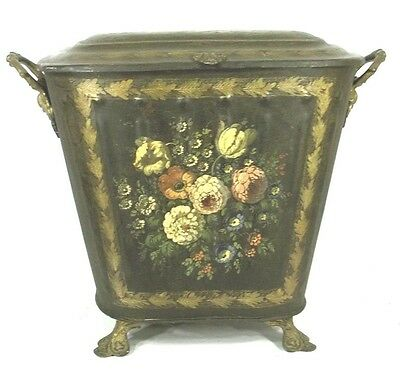 ANTIQUE 19th CENTURY HAND PAINTED AND FLORAL DECORATED TOLE COAL HOD
