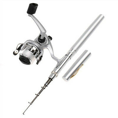 Outdoor & Sports Mini Aluminum Pocket Pen Fishing Rod Pole Reel with Retail Pack