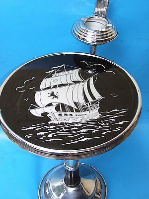 Art Deco Chrome Plated Smoker's Table Stand Glass Top with Ship Designs C.1930's