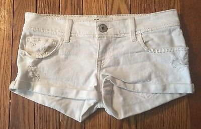 Abercrombie Fitch Girls Size 14 White Jean Booty Distressed Shorts