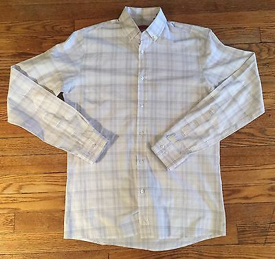Hugo Boss Men's Size 15-34/35 White Gray Check Casual Dress Shirt