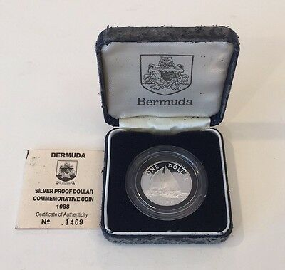 1988 Bermuda Silver Proof Dollar Commemorative Coin Original Box & COA