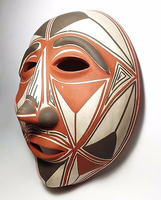 Vintage Acoma Southwest Native American Bisque Fired Red Clay Handpainted  Mask