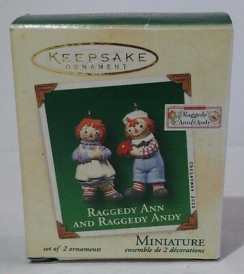 Hallmark Keepsake Miniature Ornament Raggedy Ann And Raggedy Andy 2002 NIB