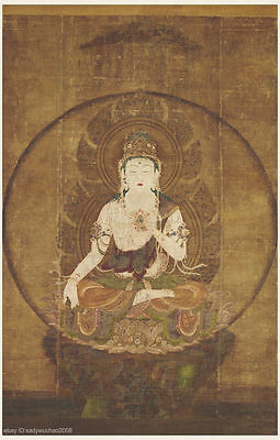 Japanese antique painting Thangka Buddhist Buddha Bodhisattva sitting on stand
