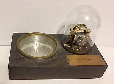 Edison Stock Ticker On Solid Wood Base Brass Plaque Ashtray Glass Dome