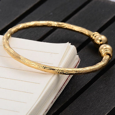 Gorgeous Baby Girls Etched Yellow Gold Filled Adjustable Bangle With Bells+