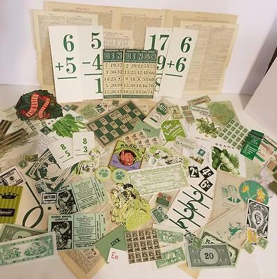 vintage ephemera paper variety box lot tickets stamps labels green pieces 75+  E