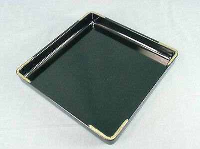 LW443 Japanese Lacquer Tray Wood Black Sunken gold Square Vintage Nurimono