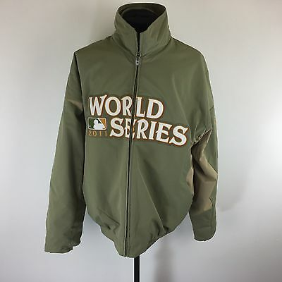 OFFICIAL AUTHENTIC MLB 2011 WORLD SERIES Zip Up Large Jacket Olive Green Size L